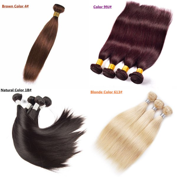 100% Human Hair Weave Brazilian Malaysian Indian Peruvian Straight Hair Extensions Bundles Natural Color Brown Wine red Blonde Color option