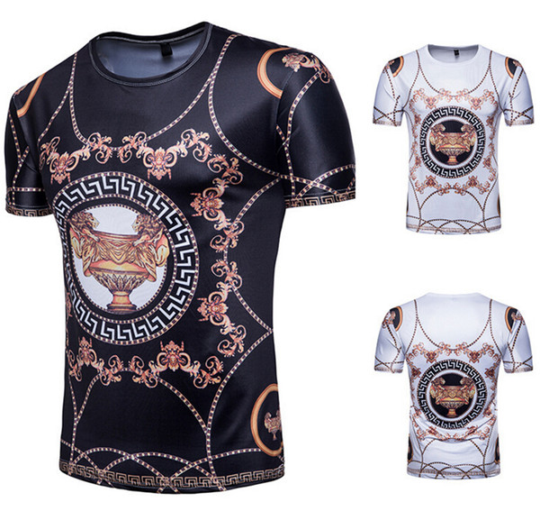 New Fashion Male Luxury T-shirts Black And White 3D Printing Tops Europe Style T-shirts Size M-2XL
