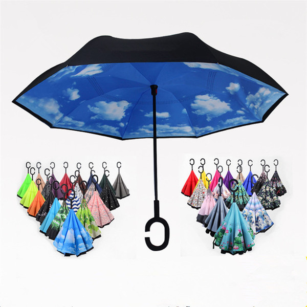 best selling Folding Reverse Umbrella 52 Styles Double Layer Inverted Long Handle Windproof Rain Car Umbrellas C Handle Umbrellas T2I384