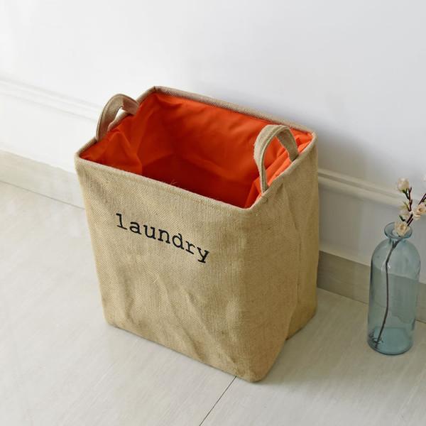 20pcs/lot Portable Laundry Basket Thicken Cotton Linen Storage Barrel Folding Dirty Cloth Storage Baskets Sundries Organizer 36x26x40cm