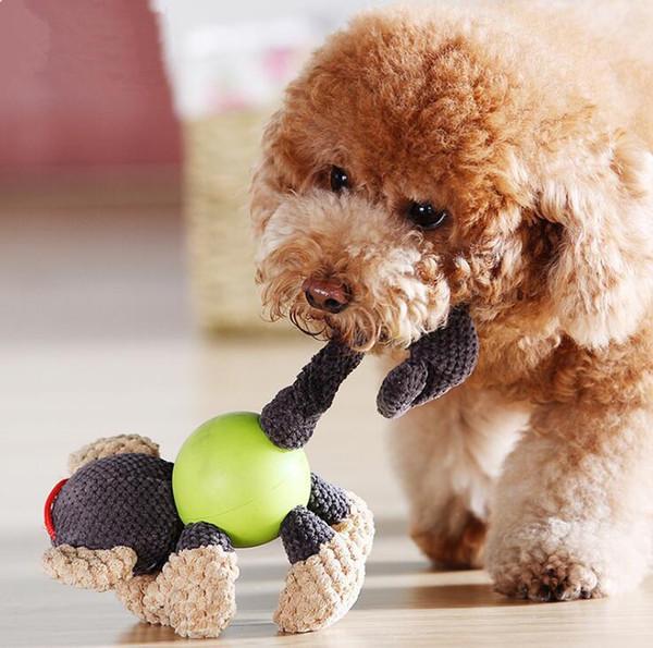 Hot Pet Doll Dog Toy Dog Juguetes de peluche Golden Hair Teddy Samo Tooth Cleaning Chews Pet Sound Juguetes