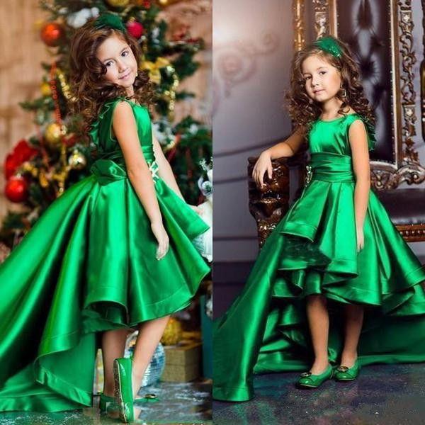 Cute Green High Low Girls Pageant Dresses Jewel Neck Sleeveless Satin Flower Girl Dress Cheap Kid Birthday Dress