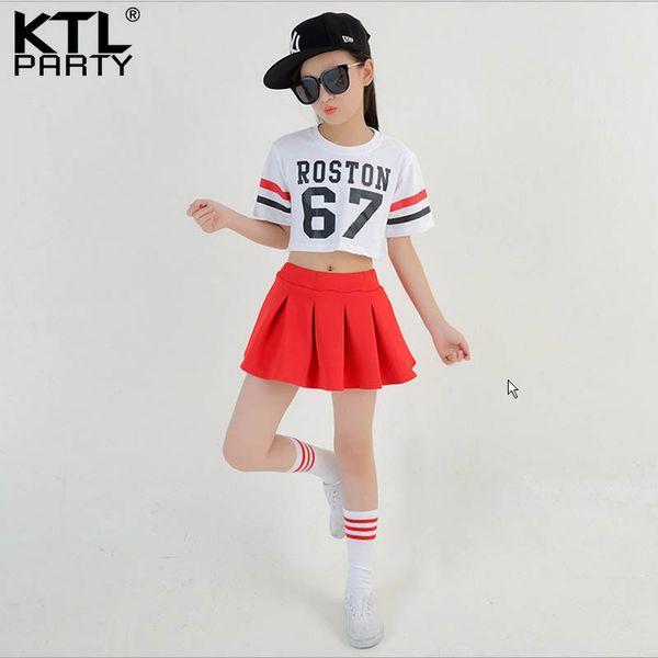 Adult children girl Hip Hop Costume Short-sleeve white T-shirt red skirt jazz Costume Cheerleading cheerleader dress sock kid