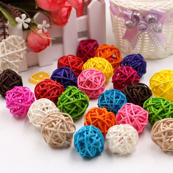 12 Piece 3cm Artificial Straw Colorful Ball For Gift Fill Holiday Decorations Party Home Ornament Supplies