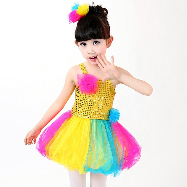 New Children's Colorful Fairy Tutu Dress Lovely Candy Color Shiny Sequined Baby Girls Dancing Costume Modern Dance Performance Wear