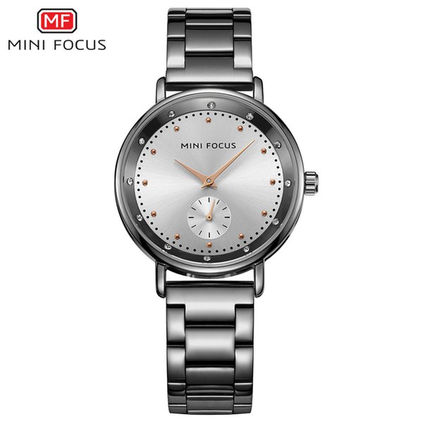 MINI FOCUS Brand Luxury Ladies Watches Stainless Steel Quartz Women Watch Women Diamonds Wristwatch Black Clock Relogio Feminino