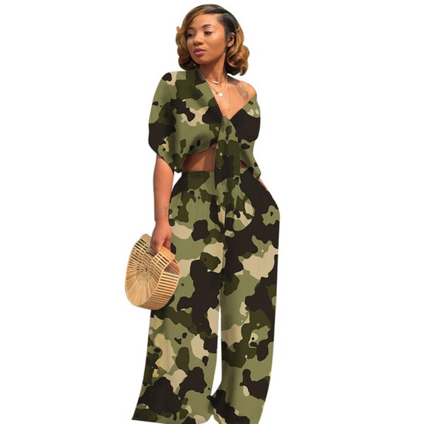 Brand Fashion 2 Piece Outfits For Women Camo Print Matching Suit Summer Tops And Wide Leg Pants