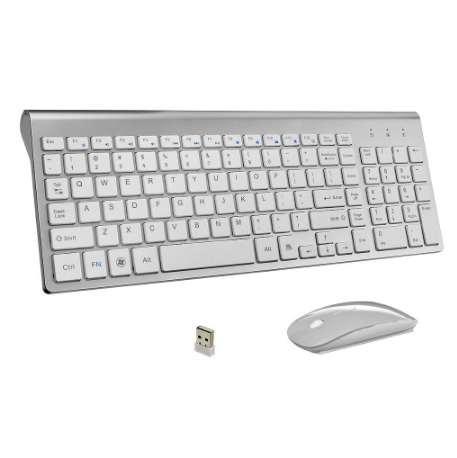 Teclado y mouse inalámbricos empresariales ultradelgados Combo 102 teclas Ratón inalámbrico con bajos niveles de ruidos y teclado para PC de Mac Win XP / 7/10 Caja de televisión