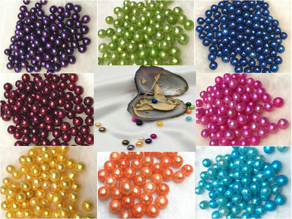best selling Round Oyster Pearl 6-8mm 2018 new 20 Mix colors big Fresh water Gift DIY Natural Pearl Loose beads Decorations Vacuum Packaging Wholesale