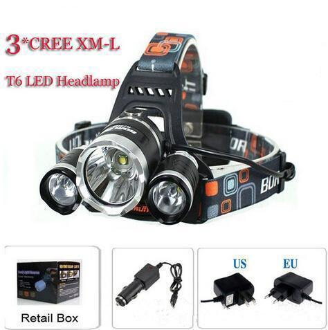 3T6 Headlamp 6000 Lumens 3 x Cree XM-L T6 Head Lamp High Power LED Headlamp Head Torch Lamp Flashlight Head +charger+car charger ePacket