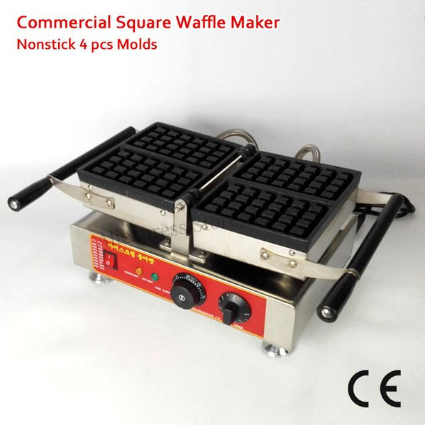 Commercial Conact Waffle Machine 4 Molds Belgian Rectangle Waffle Baker Nonstick Cooking Surface 1500W 220V 110V Brand New