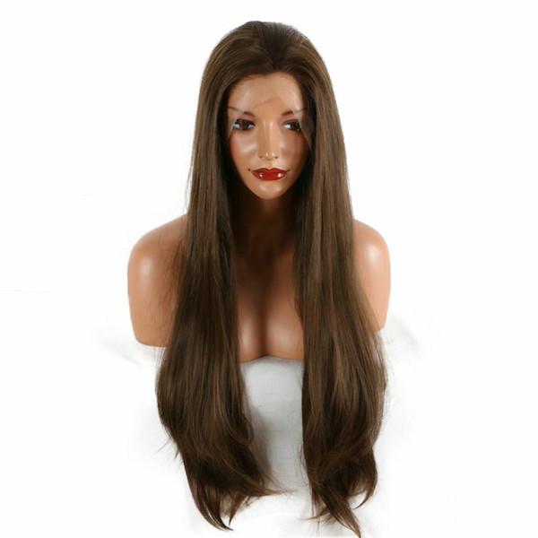 Livraison Gratuite Brun Couleur Naturel Longue Droite Perruques Glueless Résistant À La Chaleur Fibre Synthétique Avant de Lacet Perruques Pour Les Femmes Noires 180% Densité