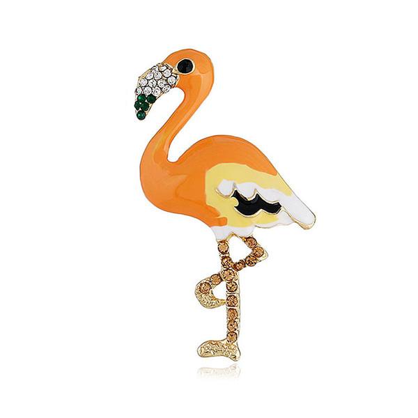 European and American fashion multicolor flamingo brooch diamond alloy collar pin clothing