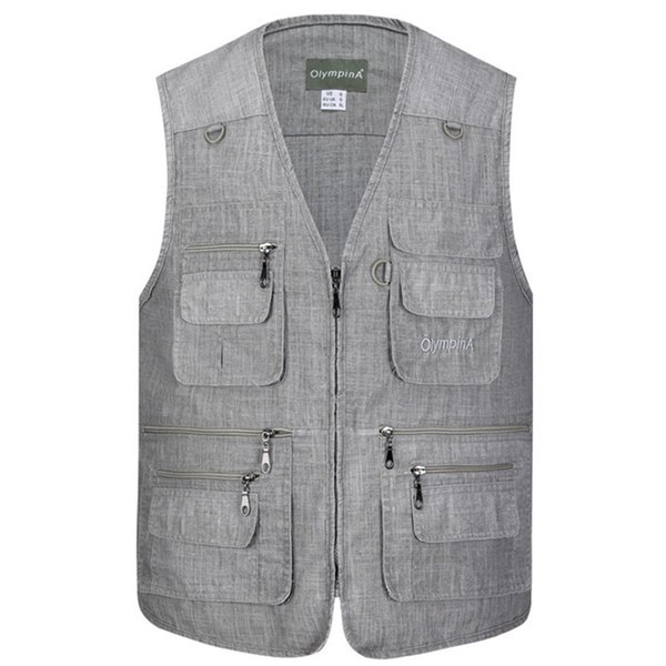 Classic Multi Pocket Vest For Men Spring Autumn Male Casual Sleeveless Photographer Jacket With Many Pocket Summer Waistcoat