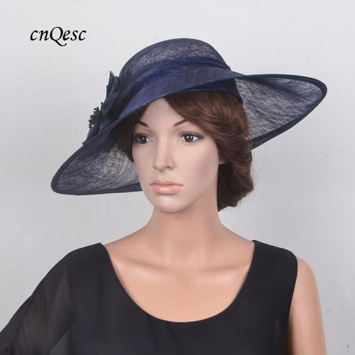 Exclusive design Large NAVY BLUE Mauve Sinamay Hatinator Wedding Fascinator Fedora hat for Kentucky Derby,Ascot Races