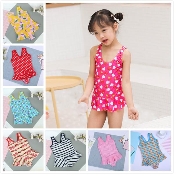 top popular PrettyBaby Big Girls Bikini One Piece Swimsuits Print Summer Swimsuit Kids Triangle Swimwear Children Skirt Bikini Beach Swimwear 2020