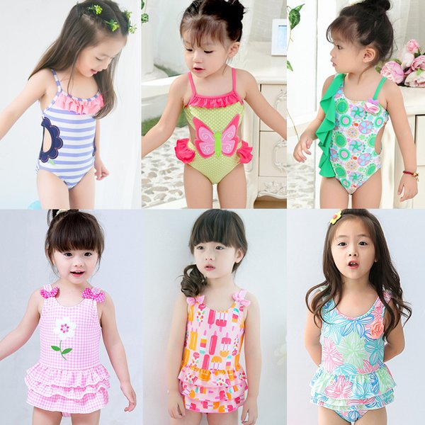 2018 children combination of hot style swimsuit cuhk students tong hollow embroidery cake points one-piece swimsuit, a lovely girl