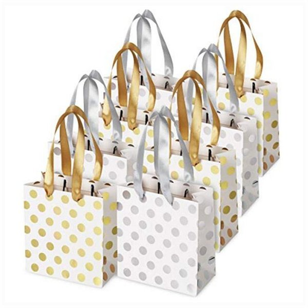 Haute Soiree Gift Bags with Ribbon Handles,Gold and Silver Polka Dot Paper Bags Perfect for Weddings, Birthday and Holiday gift package 0307