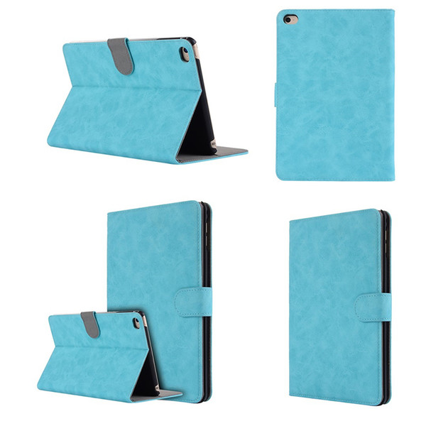 Card Slots Folding Folio Case for Apple iPad Mini 4 Luxury PU Leather Case Stand Funda Cover+Stylus
