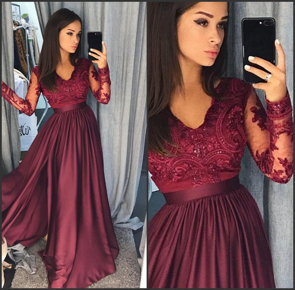 Floor Length Matte Silk Like Satin Long Sleeves Lace Appliqued Beaded Burgundy Evening Prom Dresses vestidos de fiesta largos elegantes