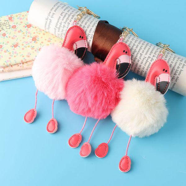 1 PC Nouvelle Mode Femmes de Bande Dessinée Flamingo Porte-clés Sac À Main Pendentif Voiture Porte-clés Lapin De Fourrure Bijoux Porte-clés Vente Chaude
