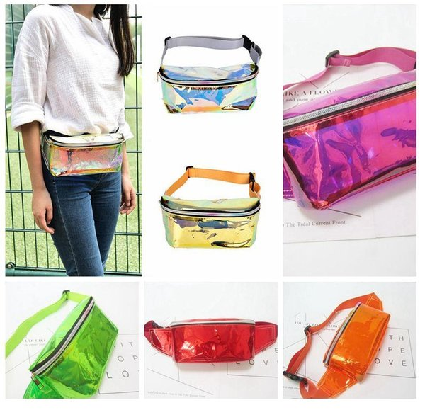 Waist Bag Fashion Punk Lady Girl Rainbow Transparent Fanny Pack Women Purse Waist Bag EP Punk Party Beach bag 50Pcs