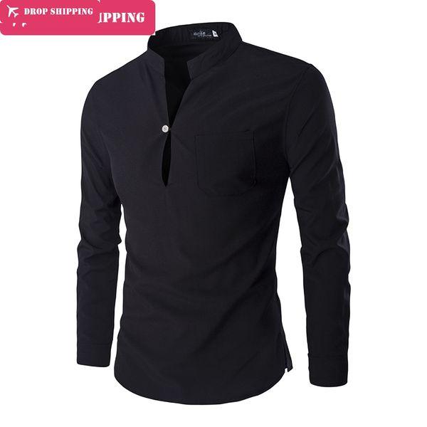 35d665c28cf9f famous shirts men Promo Codes - New 2017 Fashion Men Shirts Solid Casual  Male Slim Shirt