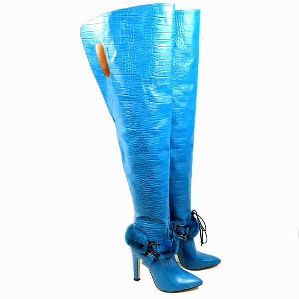 ccc4070832 Aiyoway Women Ladies Pointed Toe High Heel Over Knee Boots Ankle Fur  Decorated Crocodile Pattern Winter Long Boots Blue