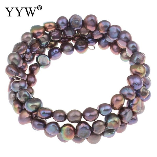 Multilayer Freshwater Cultured Pearl Bracelet Charm Bracelets Bangles For Women 2018 Jewelry 5-7mm 7.5 Inch Strand