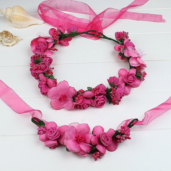 Korean artificial flower wreath set flower headband Wedding fashion headwear +wristband bride travel cloth hair accessories