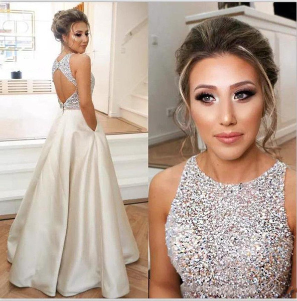 Jewel Top Beaded Prom Dresses Long Puffy Sequin Crystal Floor Length Prom Gowns Couture Keyhole Back Dresses Evening Wear Real Party 2019