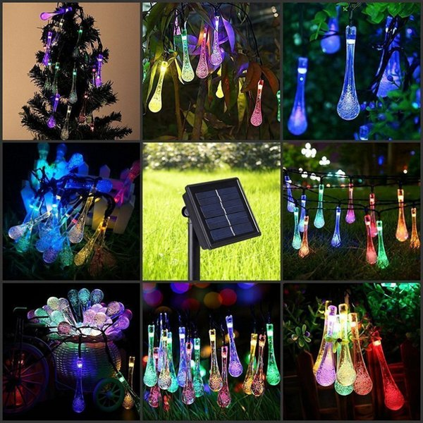 Solar Lawn lamp Water Drop LED String Lights 6M 30LED Garden Christmas Decoration DDA652 Outdoor Games & Activities