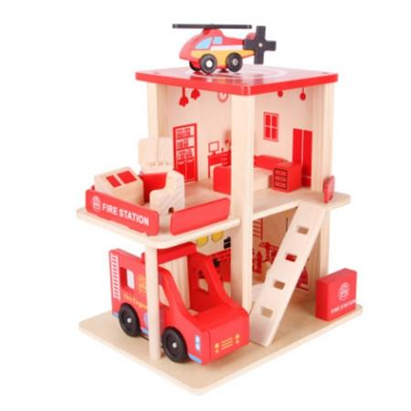 2019 Fire Station Wood Toys Simulation Toy House Building Model