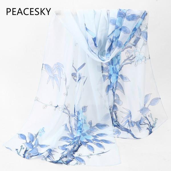 nouveau 2017 mode Style bleu blanc longue écharpe femmes en mousseline de soie châle châles minces impression polyester écharpes d'été plage cape