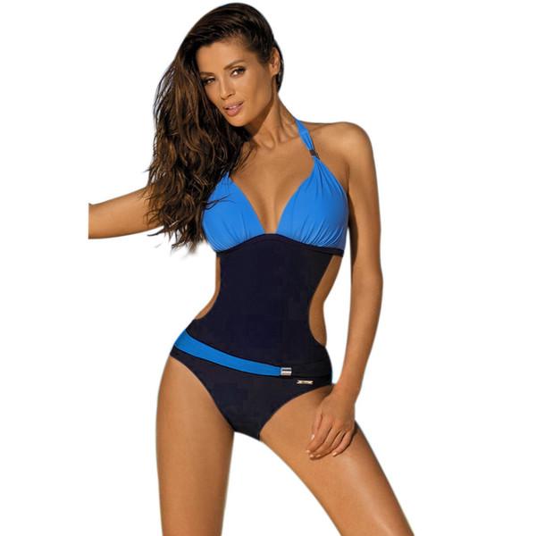 2017 Sexy One Piece Swimsuit Women Halter Patchwor Swimwear Swimsuit Backless Bandage Bathing Suit Bodysuit Monokini
