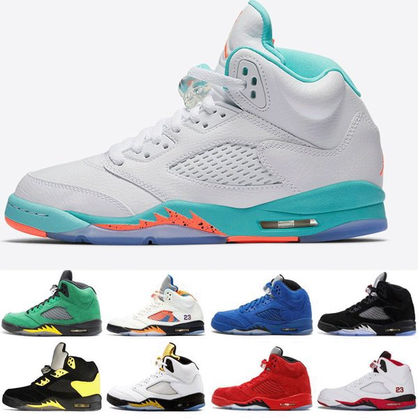 Men & Women designer Basketball shoes 5 5s Light Aqua Black Olympic metallic Gold White Cement OG Black Metallic red blue Suede Sport Sneake