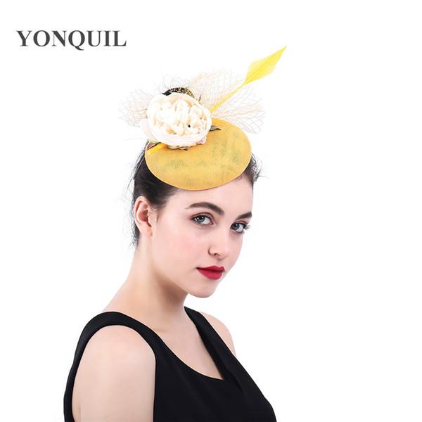 Fascinators for women elegant facncy floral pillbox hat veils married bridal party tea hair accessories fascinator hat chapeau SYF372