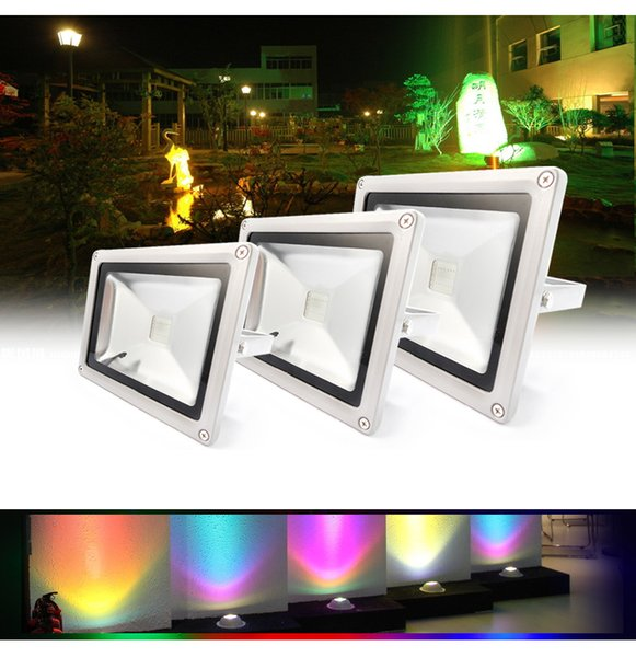 10W 20W 30W 50W RGB LED Flood Light Foco LED Exterior Spotlight IP65 Outdoor Light Reflector Spot Floodlight Remote Control