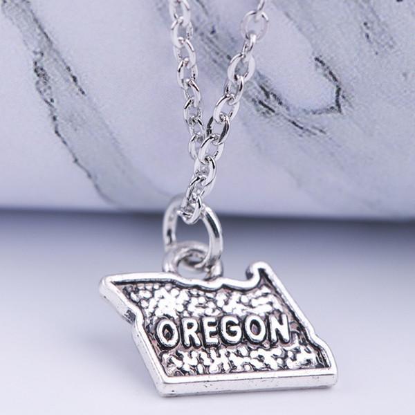 12 unids / lote Nueva moda mapa collar antiguo tono plateado OREGON mapa encanto colgante, collar de joyería de mujer regalo