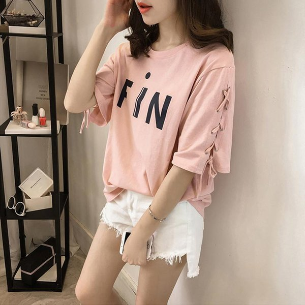 M-5XL Plus Size Top T-Shirt Women Short Sleeve Casual Cotton Tee Shirts Feminino Lace Up O-Neck Casual T Shirt Blusa 32833