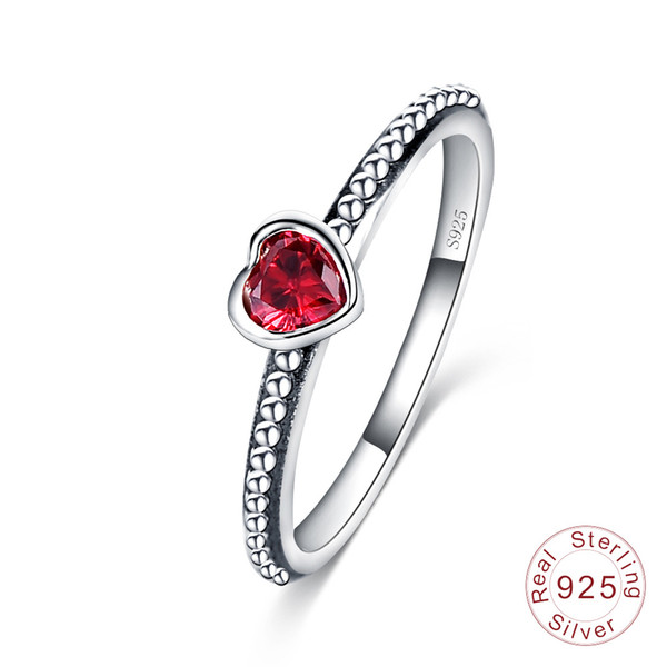 Hot Sale Real 925 Sterling Silver Wedding Rings for Women Silver White Red Pink diamond Rings Ladies Engagement Jewelry Gift