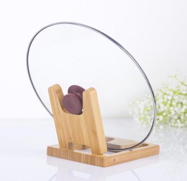 Titular de tapas de olla de bambú plegable multiusos Vertical exquisito titular de cubierta de olla de madera Estante de cocina marco de tapa de cocina plegable creativo