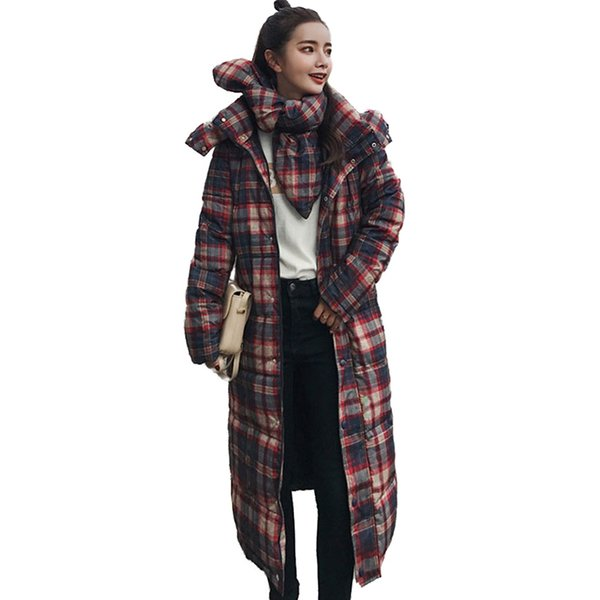 Winter Parkas Women Plaid Print Cotton Jacket Long Coat Students Cotton-padded jacket Female Thick Warm Scarf Hooded Tops N261