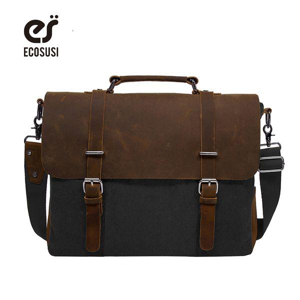 ECOSUSI 2017 Men's Shoulder Bags Canvas Leather Briefcase Vintage Satchel School Shoulder Messenger Bags Fits 15'' Laptop Bag