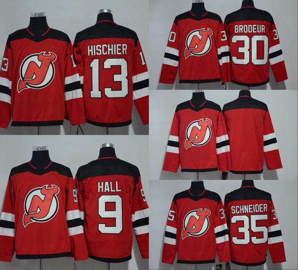 2017-2018 Season New Jersey Devils Youth Lady 9 Taylor Hall 13 Nico Hischier 30 Martin Brodeur 35 Cory Schneider Red Hockey Jerseys White