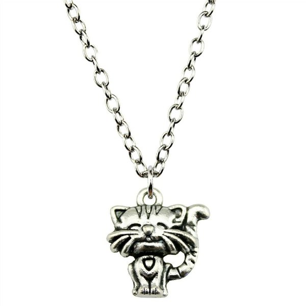 WYSIWYG 5 Pieces Metal Chain Necklaces Pendants Male Necklace Fashion Smile Cat 19x17mm N2-B12877