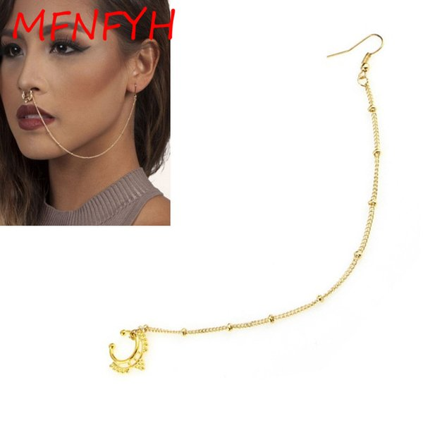 wholesale 10PCS Fashion Women Gold Nose Ring and Stud with Long Chain Hook Earring Septum Fake Nose Piercing Clip On Body Jewelry