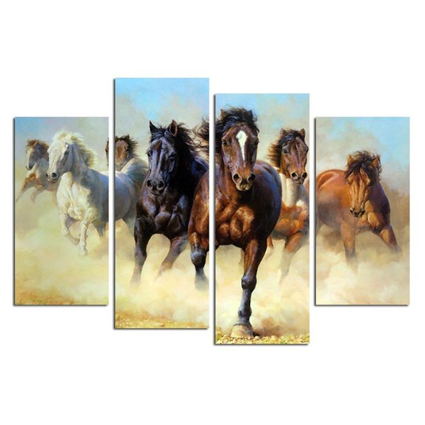 Modular Framework Wall 4 Panel Horses Running HD Print Canvas Art Painting Popular Picture For Living Room Decoration Poster