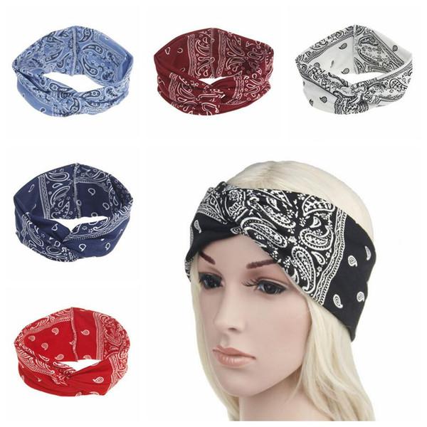 6 Colors Women Stretch Twist Headband Bohemia Sports Yoga Head Wrap Bandana Headwear Hair Ornament Accessories CCA9660 100pcs