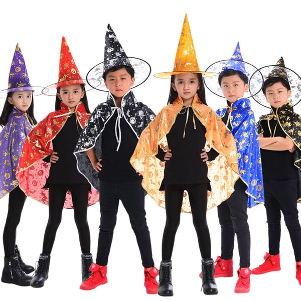 Kids Adult Children Halloween Baby Wizard Witch Cloak Cape Robe+Hat Set Hat For Halloween Costume Party Accessory